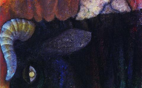 16.人物と牛の首